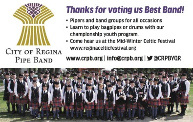 Thanks for voting CITY OF REGINA PIPE BAND Best Band!