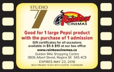 1 large Pepsi product with the purchase of 1 admission at Rainbow Cinemas